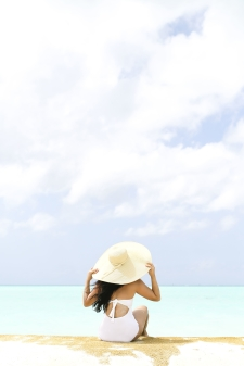 Woman and her Sun Hat in Turks and Caicos
