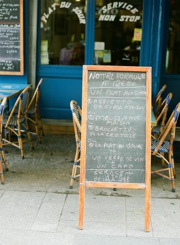 Outdoor Cafe Menu in Paris France