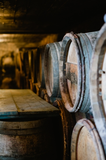 Wine Barrels at Domaine de Gouye in Rhone Valley France