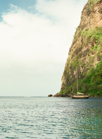 Sailboat at Sugar Beach Hotel in St Lucia