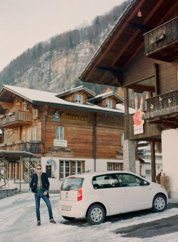 Tourist in Iseltwald Switzerland