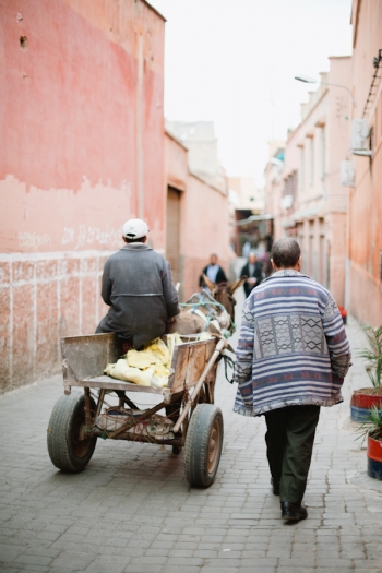 Man Pulling a Wagon in Marrakech Morocco