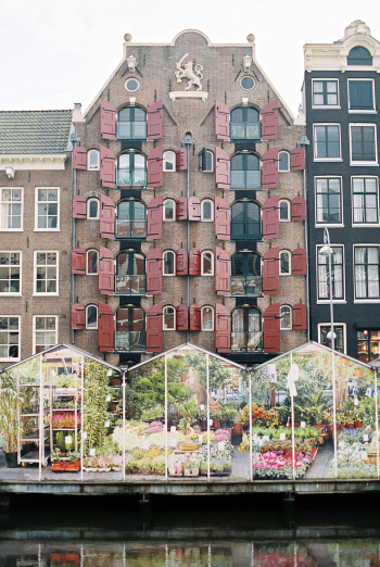 Greenhouses on the Water in Amsterdam
