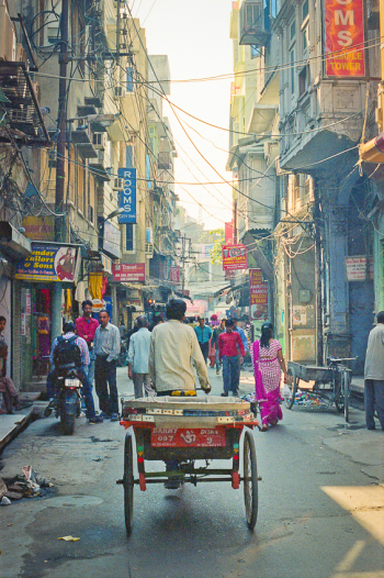 Man Pulling Cart in the Streets of Amritsar India