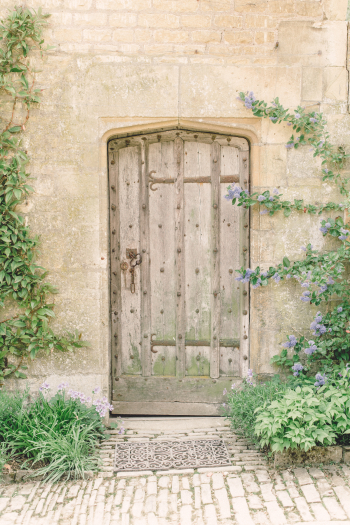 Wood Door at Hidcote Manor Garden in the Cotswolds