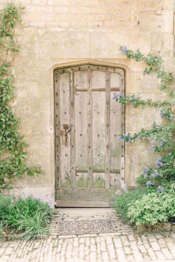 Wood Door at Hidcote Manor Garden in the Cotswolds