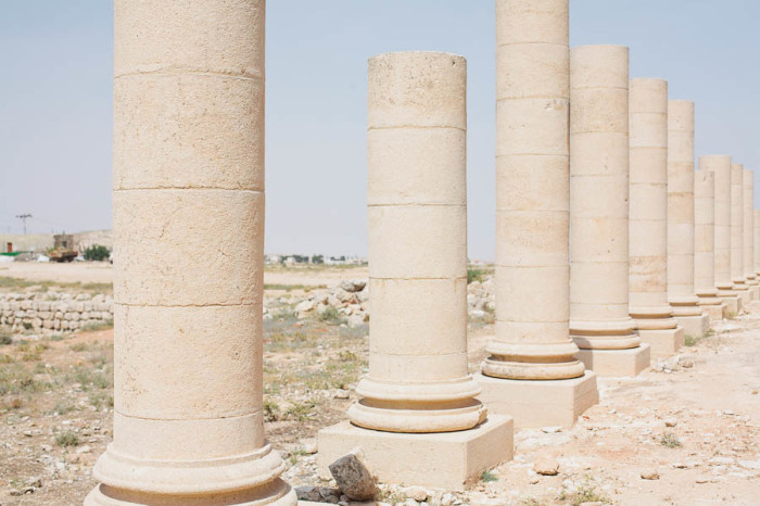 Ancient Columns at the Herodian Ruins of Palestine