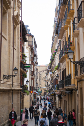 Bustling Streets of San Sebastian Spain