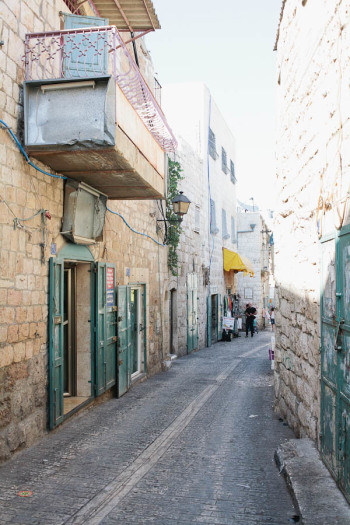 Cobblestone Street in the Old City of Bethlehem