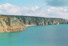 Overlooking Porthcurno Beach in England