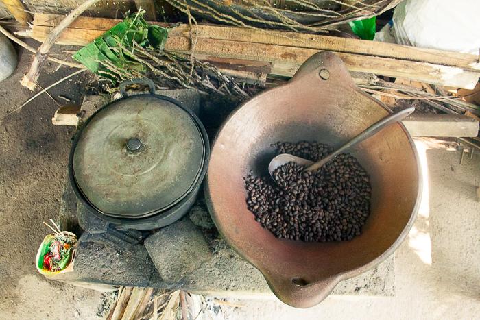 Roasting Coffee Beans at Bali Pulina in Ubud