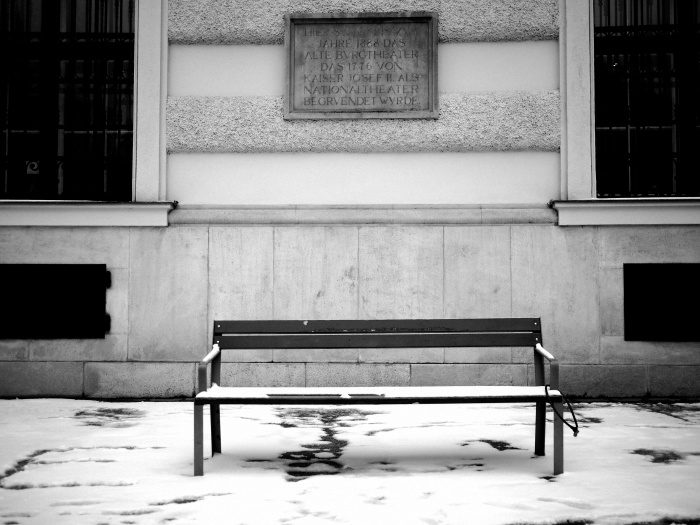 Snow Covered Bench in Vienna Austria
