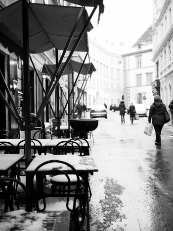 Snow Covered Cafe Seating in Vienna