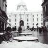 Snowy Cafe Seating in Vienna Austria