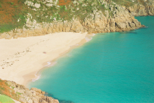 Teal Water at Porthcurno Beach in England