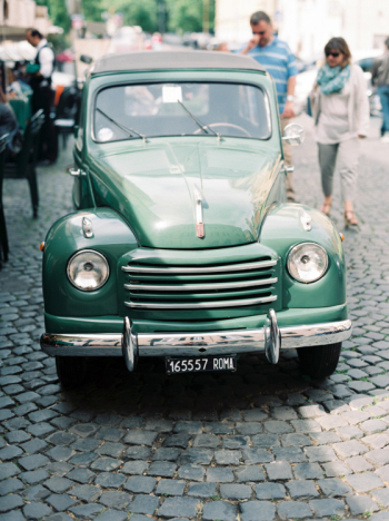 Antique Green Car in Rome Italy
